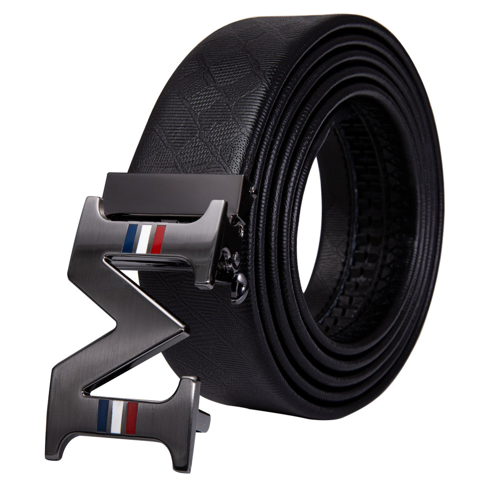 Luxury With M Letter  Metal Automatic Buckle Black Leather Belt