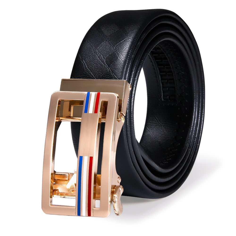 Luxury Golden Metal Automatic Buckle Black Leather Belt
