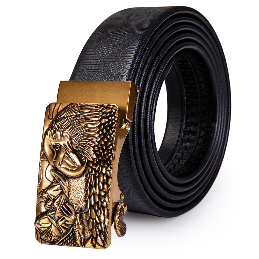 New Golden Eagle Metal Automatic Buckle Black Leather Belt 43 inch to 63 inch