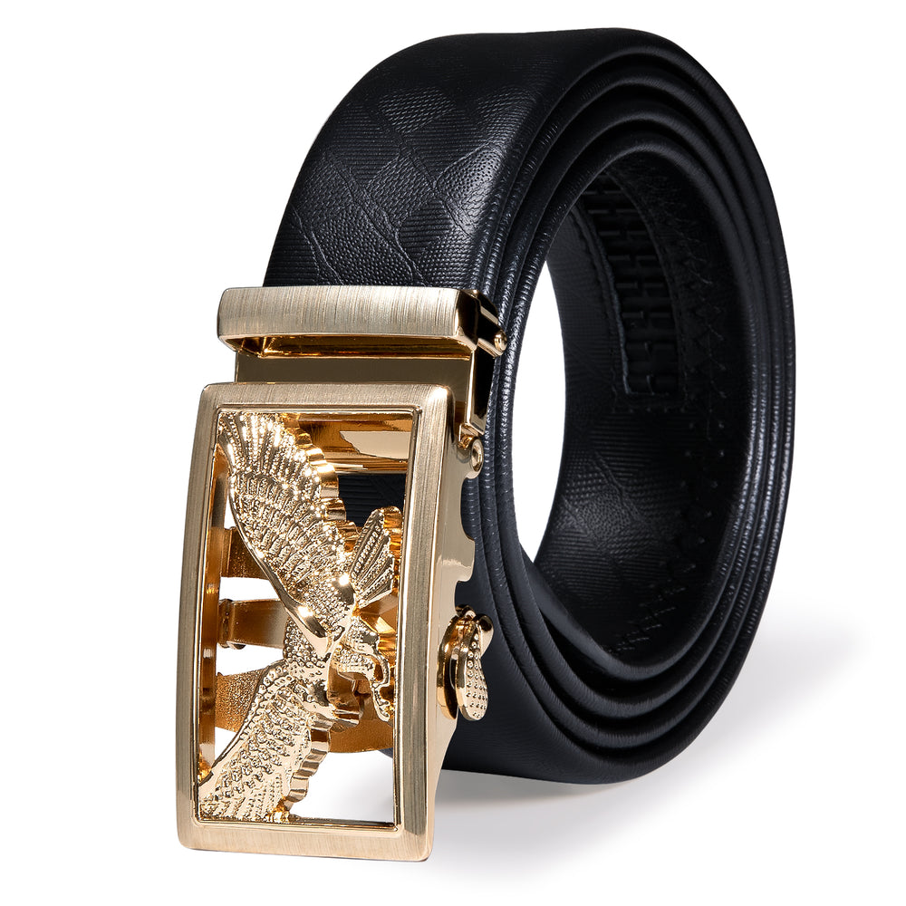 Luxury Golden Eagle Metal Automatic Buckle Black Leather Belt 43 inch to 63 inch