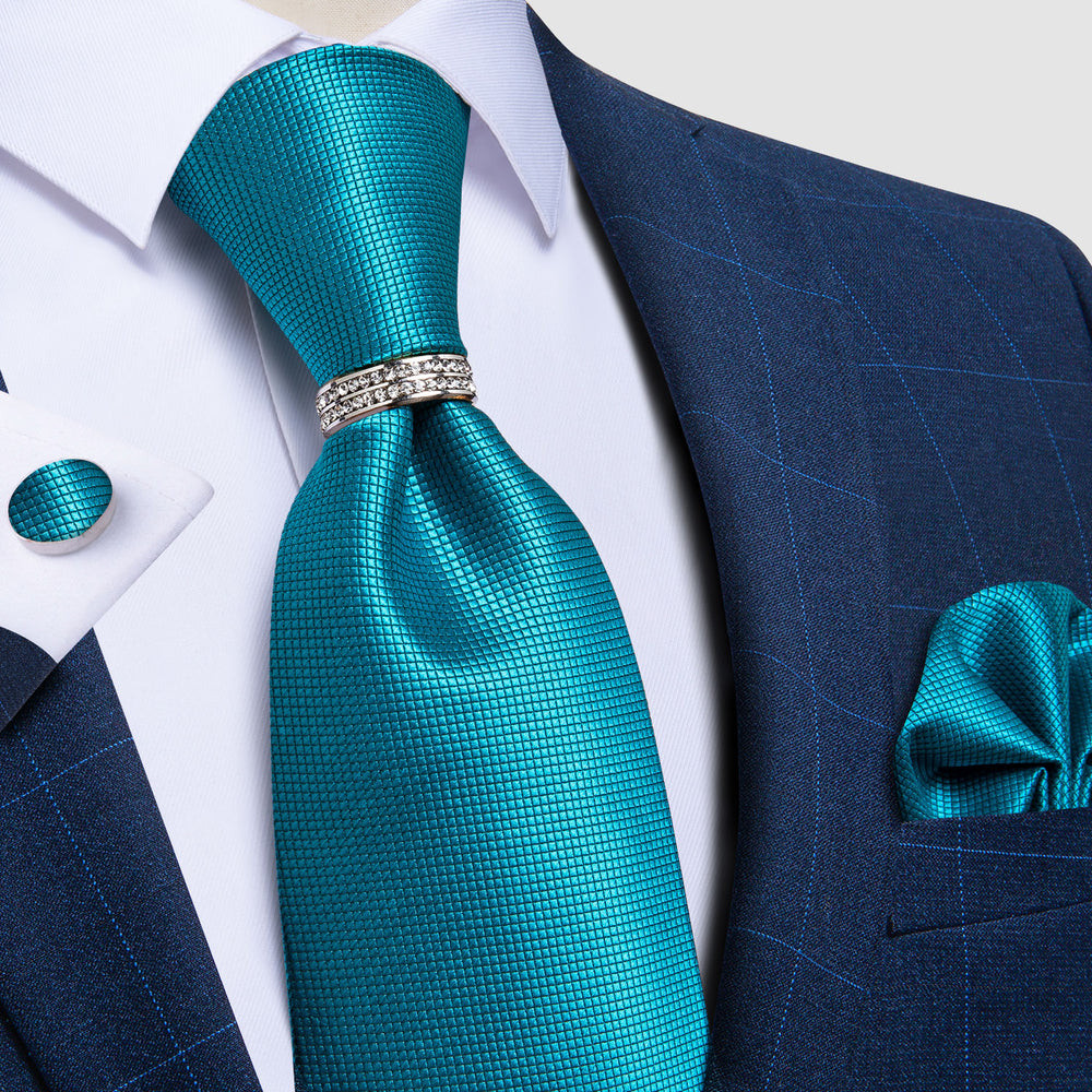Elegent Teal Solid Tie Pocket Square Cufflinks Set With Ring