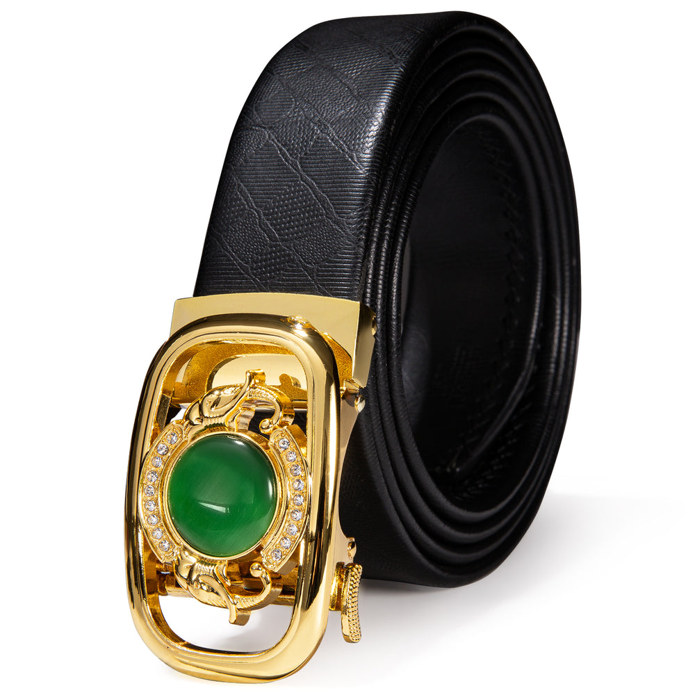 New Golden Emerald  Metal Automatic Buckle Black Leather Belt 43 inch to 63 inch