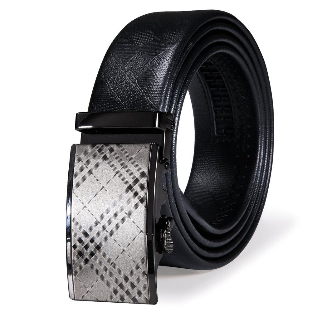 New Silver Black  Plaid Metal Automatic Buckle Black Leather Belt 43 inch to 63 inch
