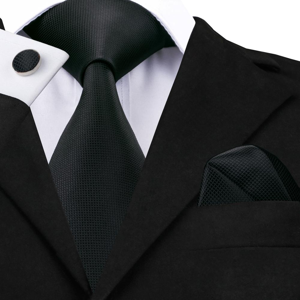 Load image into Gallery viewer, Black Solid Tie Hanky Cufflinks Set