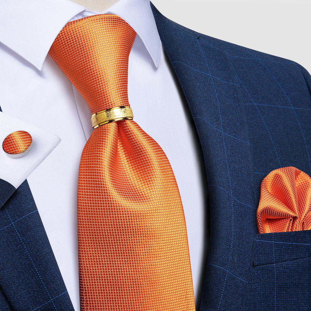 4PCS Orange Solid Silk Men's Tie Pocket Square Cufflinks with Tie Ring Set