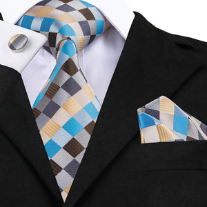 Load image into Gallery viewer, Blue Brown Plaid Tie Hanky Cufflinks Set (575612452906)