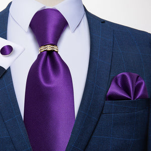 4PCS Purple Solid Tie Pocket Square Cufflinks With Tie Ring Set (4671265079377)