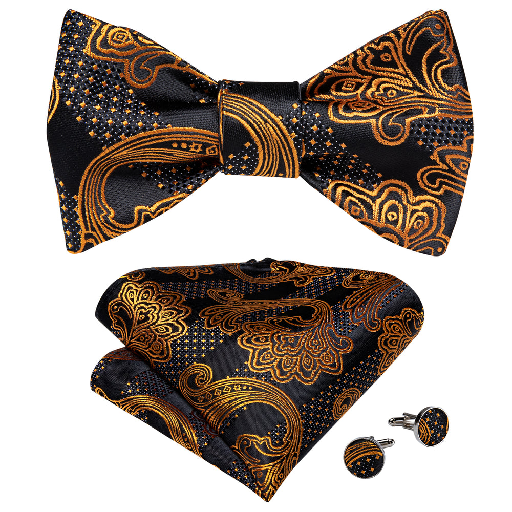 Brown Black Paisley Self-Bowtie Pocket Square Cufflinks With Lapel Pin