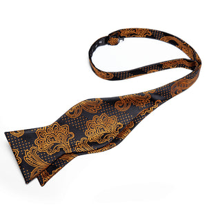 Brown Black Paisley Self-Bowtie Pocket Square Cufflinks With Lapel Pin (4618937827409)