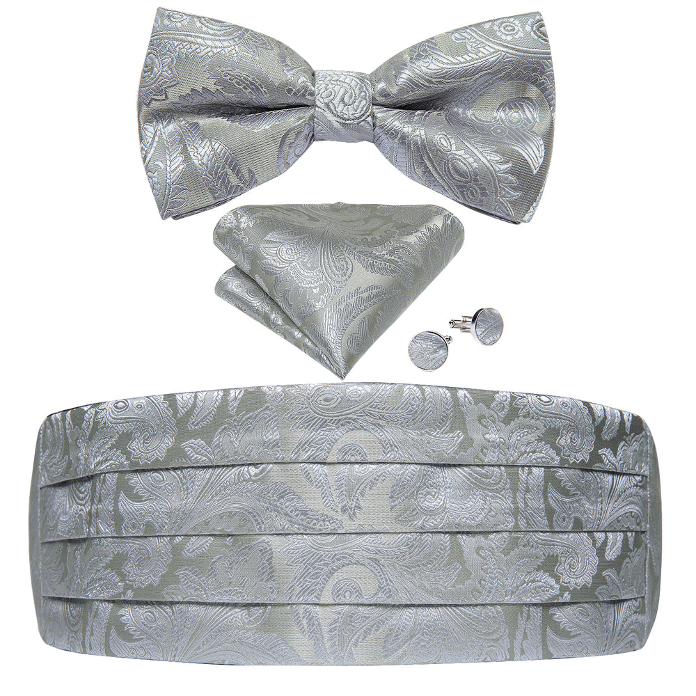Load image into Gallery viewer, Silver White Paisley Cummerbund Bow tie Handkerchief Cufflinks Set