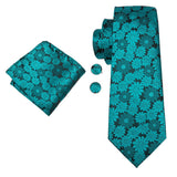 Green Floral Men's Tie Pocket Square Cufflinks Set