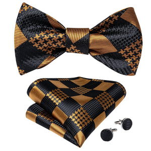 Gold Black Plaid Self-Bowtie Pocket Square Cufflinks Set With Brooch