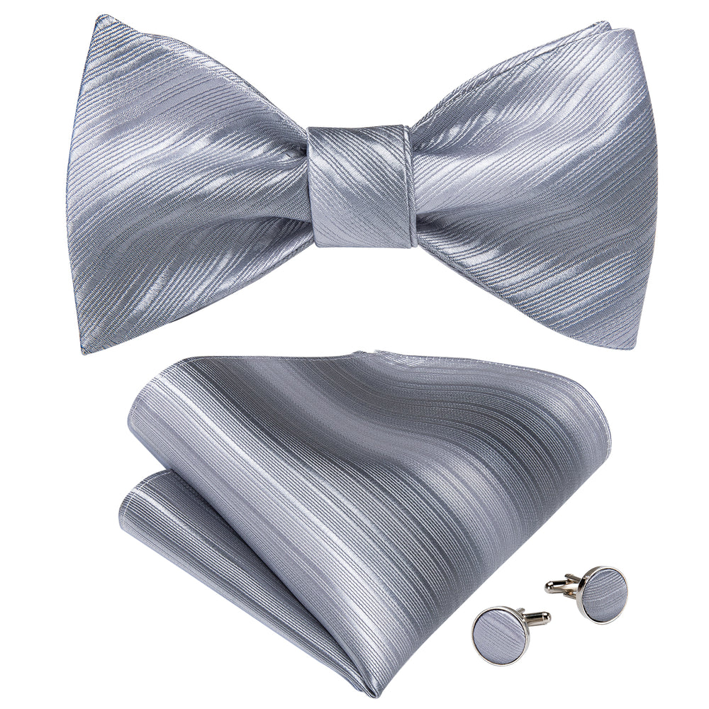 Grey Plaid Silk Self-Bowtie Pocket Square Cufflinks With Lapel Pin