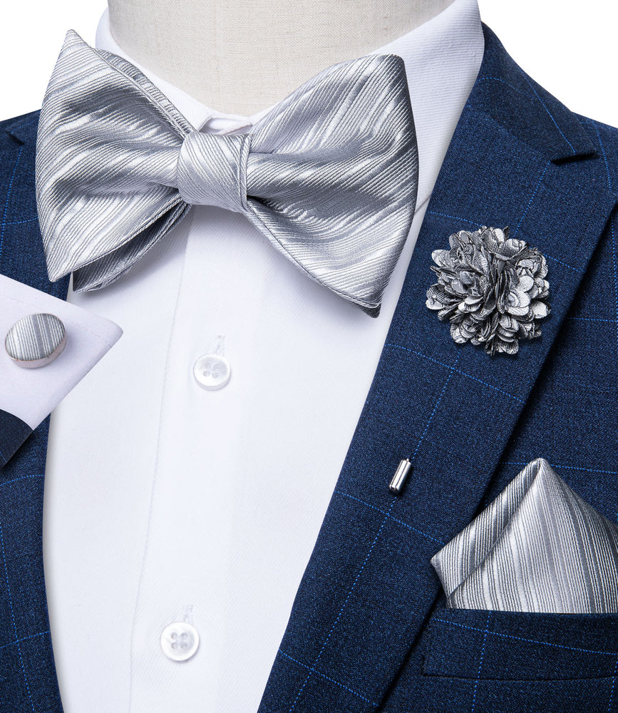 Grey Plaid Self-Bowtie Pocket Square Cufflinks Set With Brooch