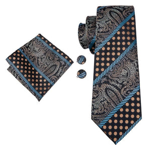 Load image into Gallery viewer, Brown Blue Striped Men's Tie Pocket Square Cufflinks Set