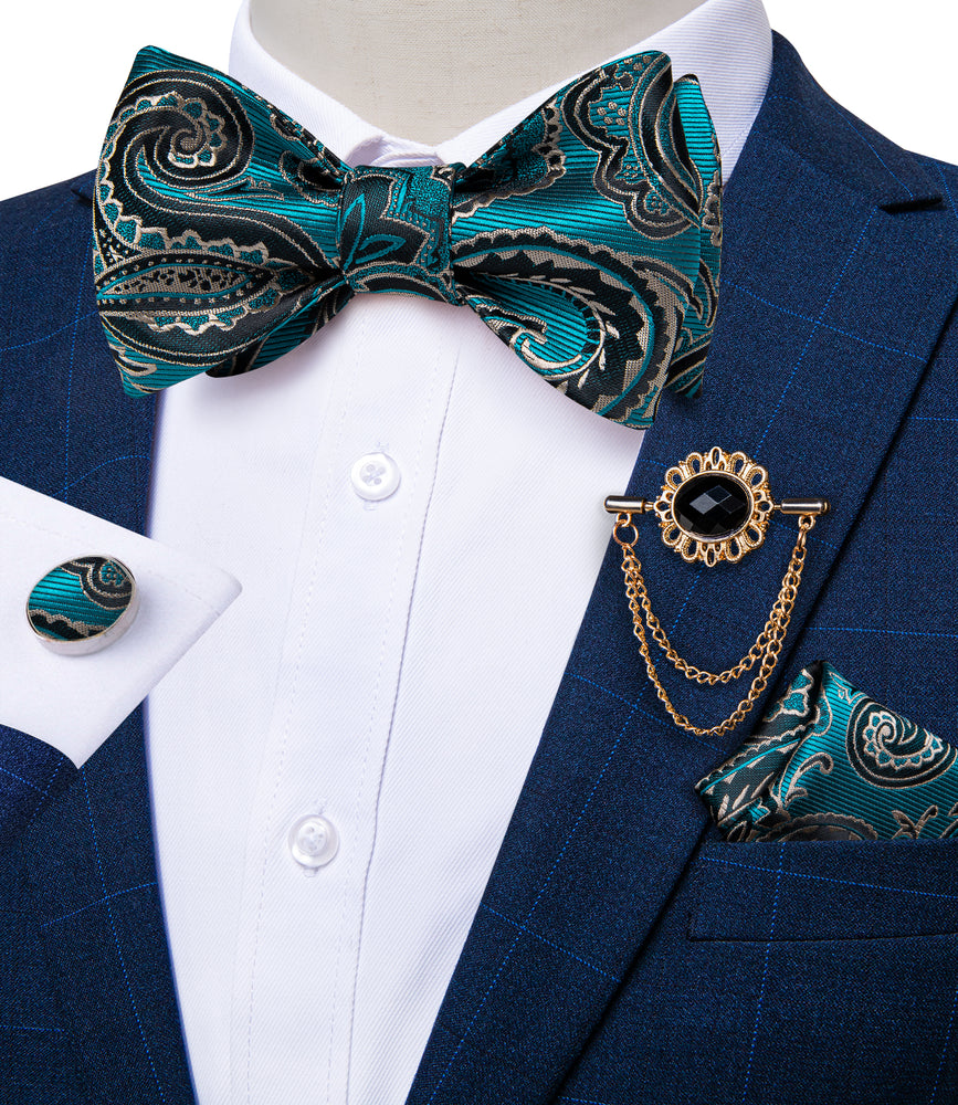 Teal Blue Paisley Silk Self-Bowtie Pocket Sqaure Cufflinks With Lapel Pin