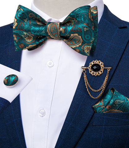 Teal Blue Yellow Self-Bowtie Paisley Tie Pocket Square Cufflinks With Lapel Pin