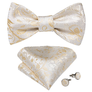 Beige Silk Self-Bowtie Pocket Square Cufflinks With Lapel Pin