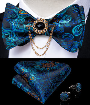 Deep Blue Silk Paisley Self-Bowtie Pocket Square Cufflinks With Lapel Pin