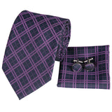 Men's Black Purple Plaid Tie Handkerchief Cufflinks Set