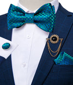 Teal Blue Grid Plaid Self-Bowtie Pocket Sqaure Cufflinks With Lapel Pin