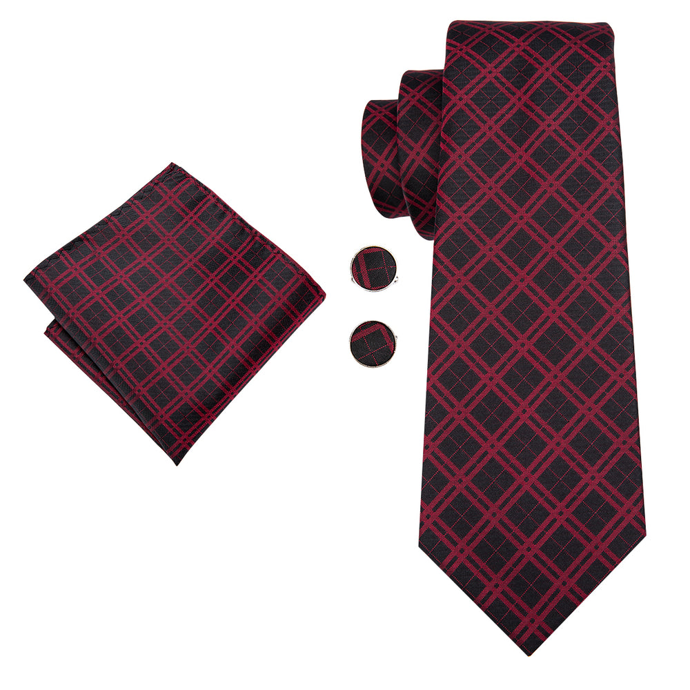Red Black plaid Tie Handkerchief Cufflinks Set (1789505437738)