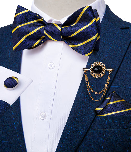 Blue Yellow Striped Silk Self-Bowtie Pocket Square Cufflinks With Lapel Pin
