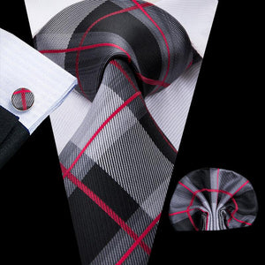 Grey Red  Plaid Men's Tie Pocket Square Cufflinks Set
