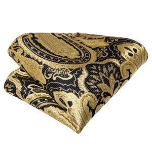 Gold Black Paisley Self-Bowtie Pocket Square Cufflinks With Lapel Pin (4618918527057)