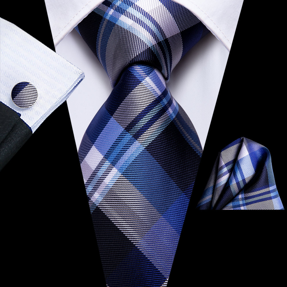 Beautiful Men's Blue Grey Plaid Tie Set