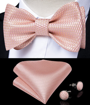 Load image into Gallery viewer, Pink Plaid Silk Self-Bowtie Pocket Sqaure Cufflinks With Lapel Pin (4618926129233)