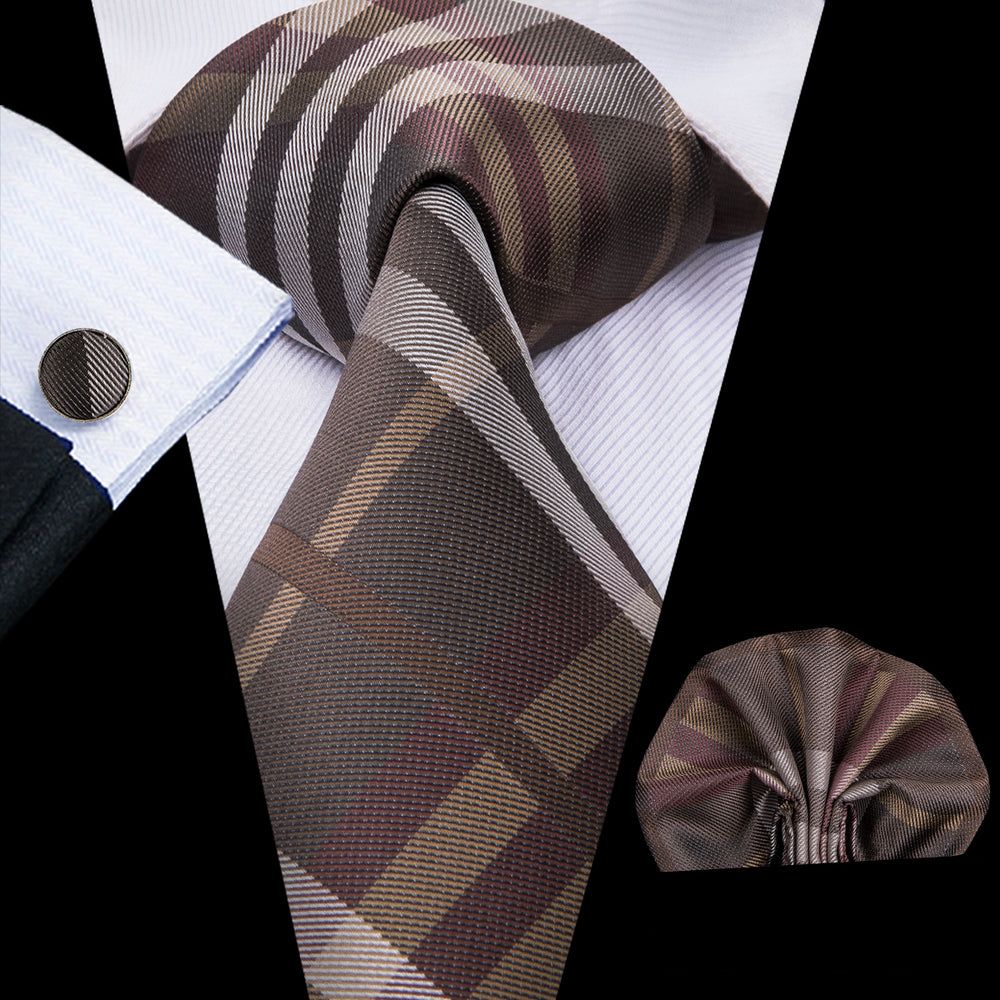 Beautiful Men's Brown Plaid  Tie  Handkerchief Cufflinks Set