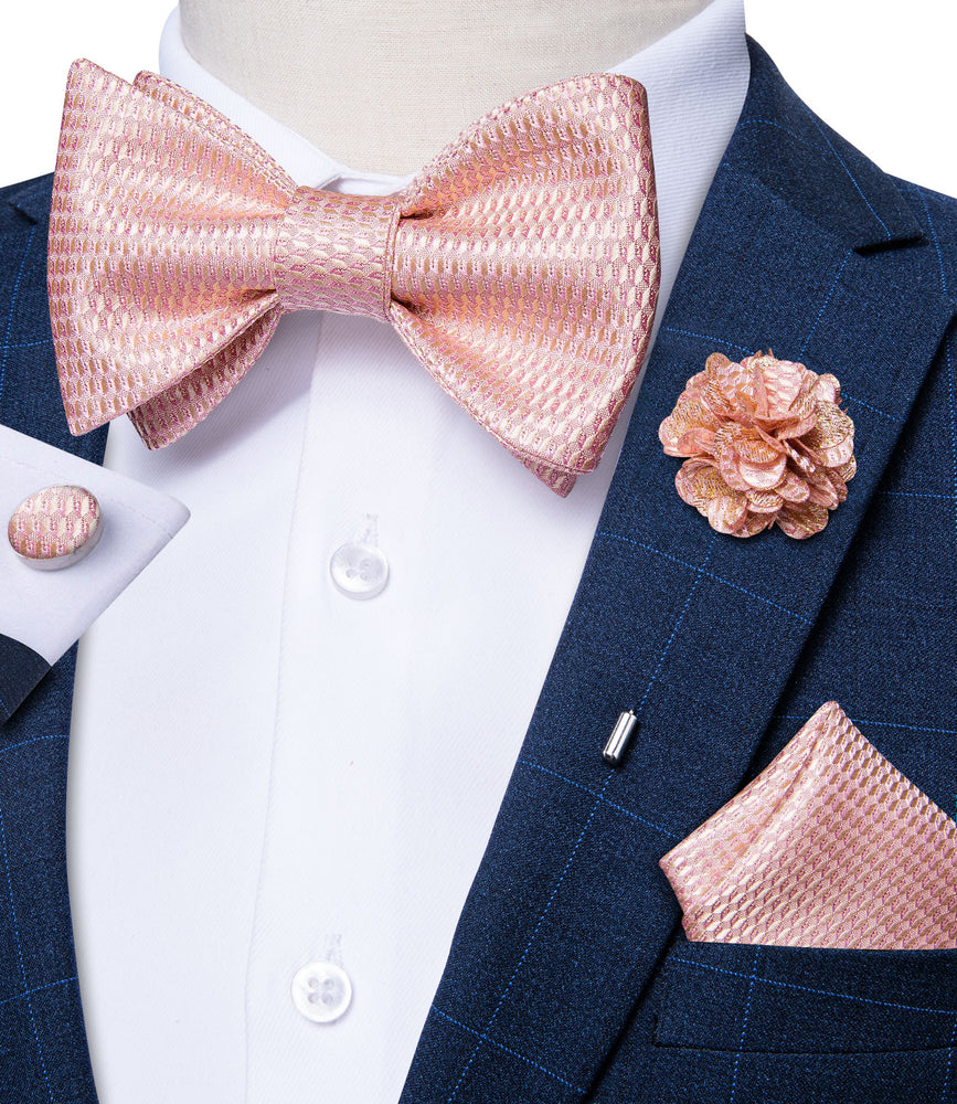 Pink Plaid Self-Bowtie Pocket Square Cufflinks Set With Brooch