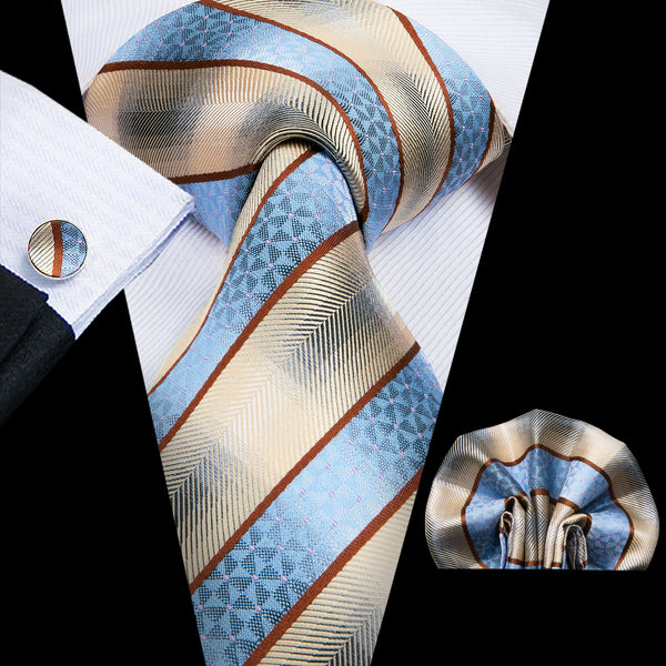 Men's Blue Yellow Striped Tie Handkerchief Cufflinks Set
