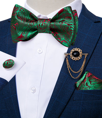 Green Red Paisley Self-Bowtie Pocket Square Cufflinks With Lapel Pin