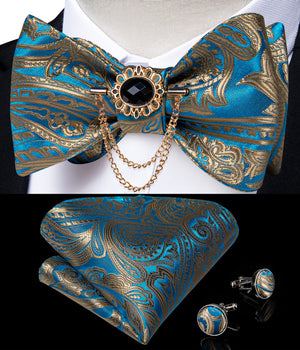 Blue Gold Paisley Self-Bowtie Pocket Square Cufflinks With Lapel Pin (4618935631953)