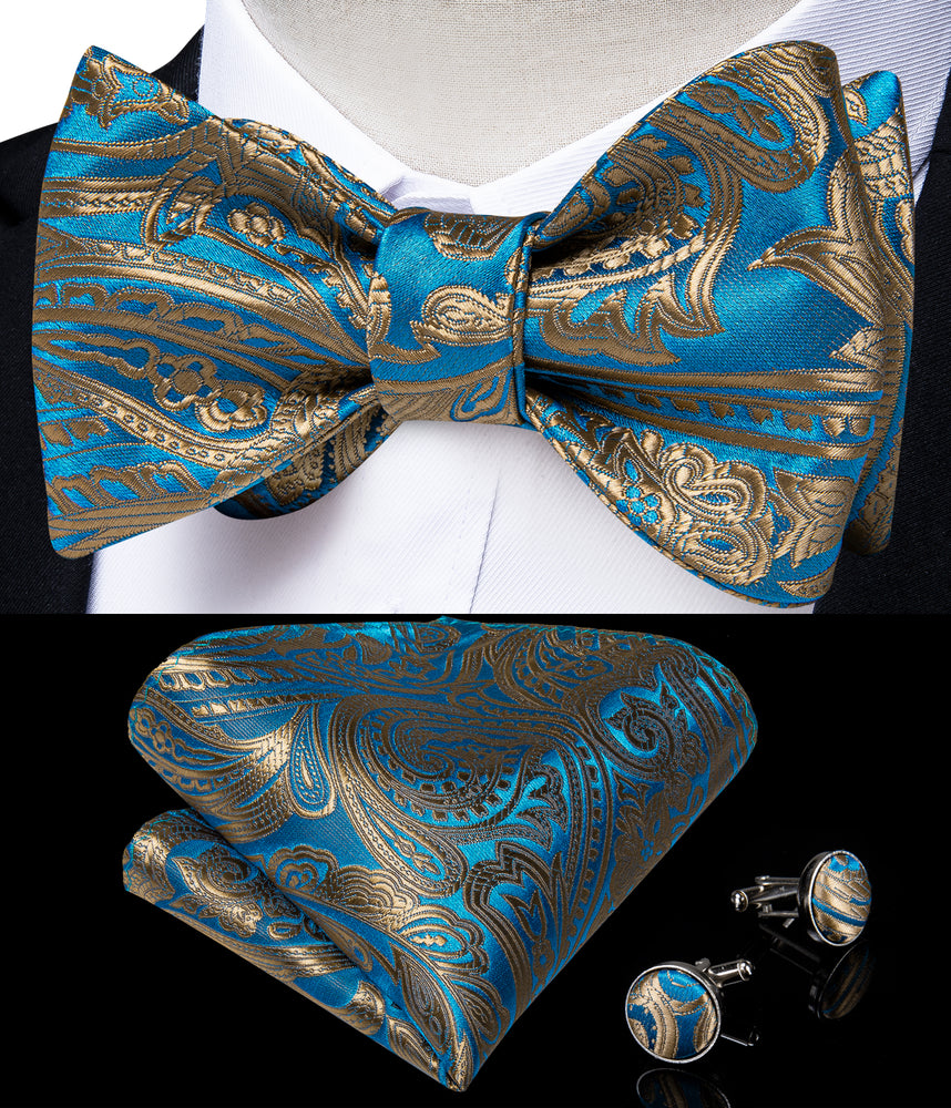 Load image into Gallery viewer, Blue Gold Paisley Self-Bowtie Pocket Square Cufflinks With Lapel Pin (4618935631953)