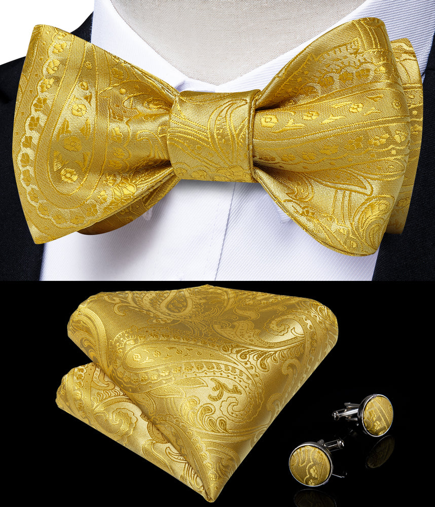 Yellow Paisley Self-Bowtie Pocket Square Cufflinks With Lapel Pin (4618936516689)
