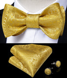 Yellow Paisley Self-Bowtie Pocket Square Cufflinks With Lapel Pin