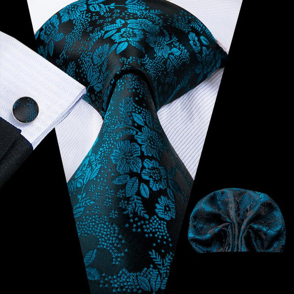 Dark blue Floral Men's Tie Pocket Square Cufflinks Set