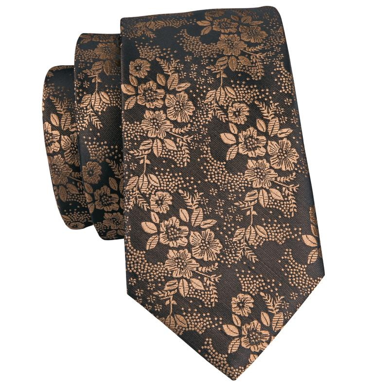 Load image into Gallery viewer, Gold Brown Floral Men's Tie Pocket Square Cufflinks Set