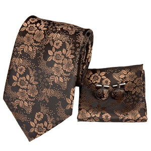 Gold Brown Floral Men's Tie Pocket Square Cufflinks Set