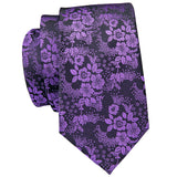 Men's Purple Floral Tie Pocket Square Cufflinks Set
