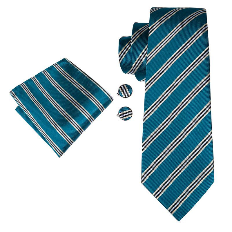 Blue Yellow Striped Mens Tie Pocket Square Cufflinks Set (1909740437546)