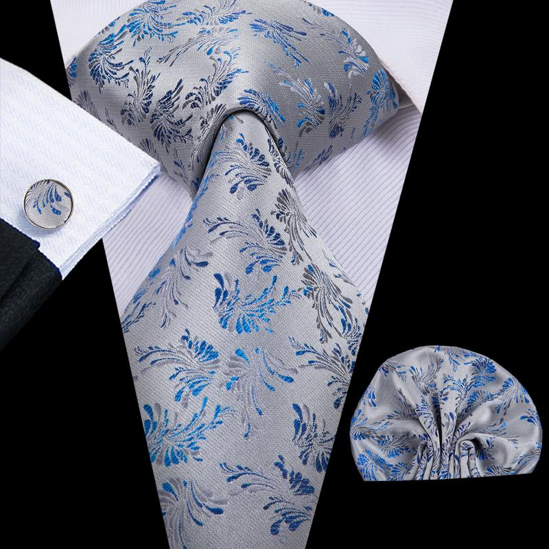 Grey Blue Floral  Mens Tie Pocket Square Cufflinks Set