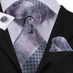 Attractive Men's  Gray Plaid Tie Pocket Square Cufflinks Set