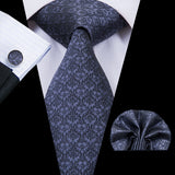 Unique Grey Floral Ties Handkerchief Cufflinks Set