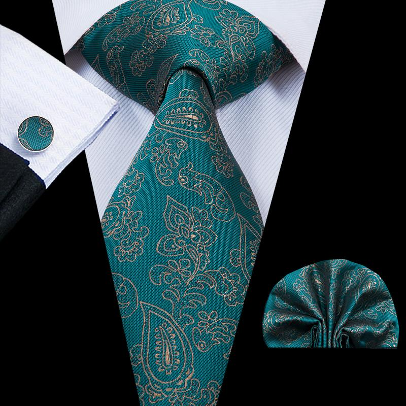 Green Gold Paisely  Mens Tie Pocket Square Cufflinks Set