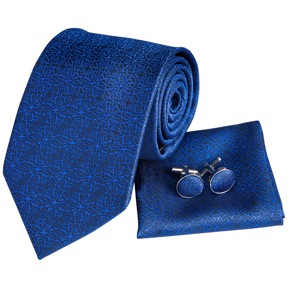 Load image into Gallery viewer, Unique Bule Silk Tie Handkerchief  Cufflinks Set (1656094621738)