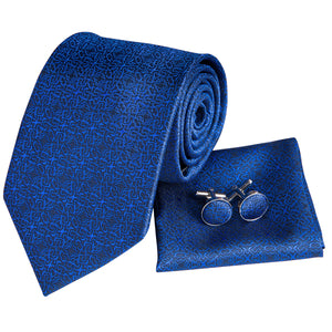 Unique Bule Silk Tie Handkerchief  Cufflinks Set (1656094621738)